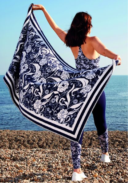 recycled brushed cotton wrap throw blanket towel navy floral