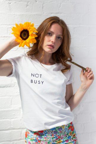 Slogan white t-shirt Not Busy