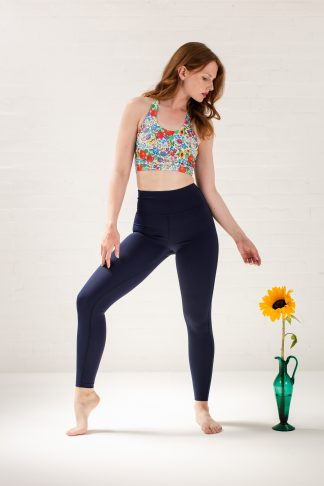 Recycled leggings navy and sports bra floral