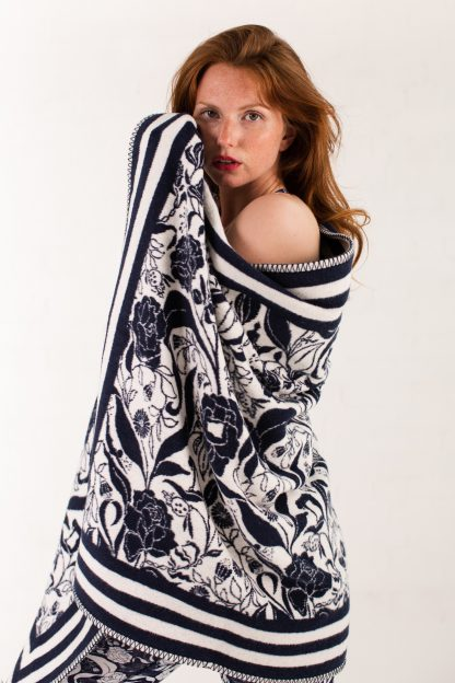 Recycled Cotton Wrap Throw Blanket navy floral