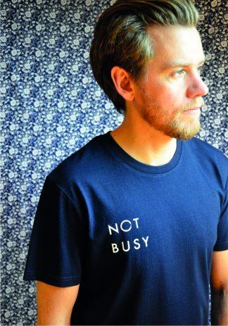 100% organic cotton slogan t-shirt navy not busy