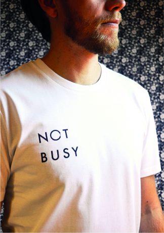100% organic cotton slogan t-shirt white not busy