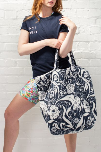 Recycled cotton yoga mat bag navy floral