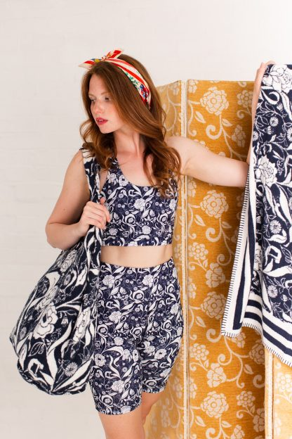 Recycled bike shorts and sports bra navy floral yoga wear