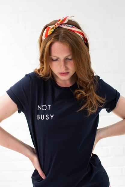 Slogan T-Shirt navy Not Busy