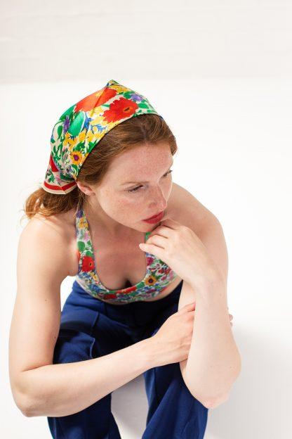 100% silk satin head scarf floral