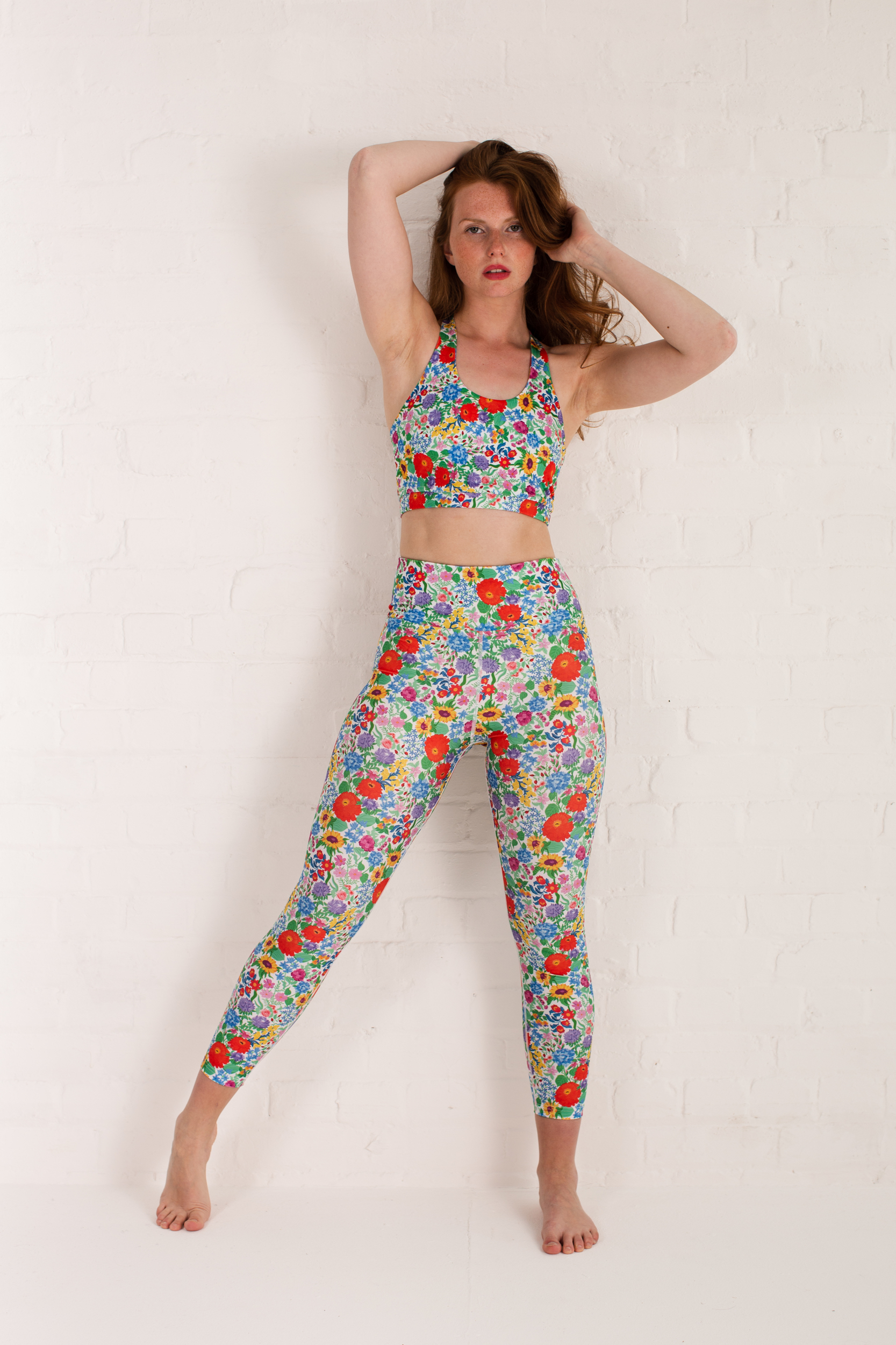 recycled high waist 7/8 yoga leggings and sports bra floral
