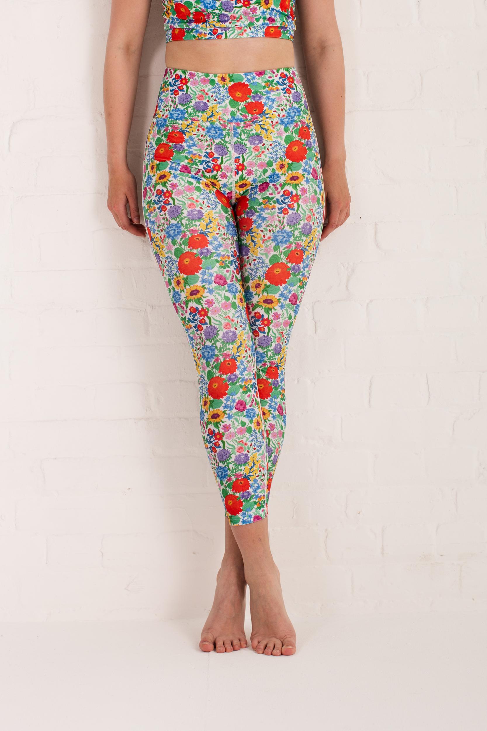 recycled high waist 7/8 yoga leggings floral