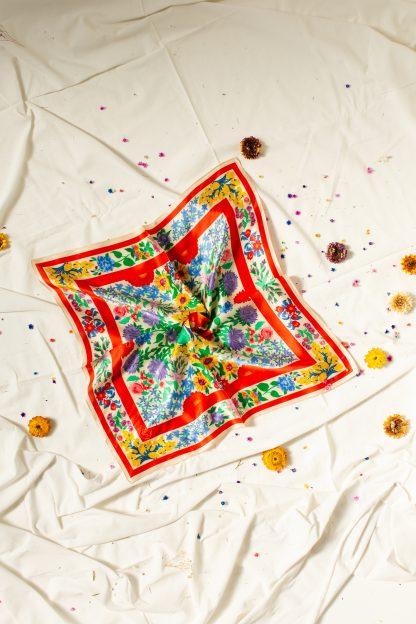 100% Silk Scarf headscarf vintage floral